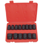 6 Point Standard Metric Impact Socket Set, 14 Piece
