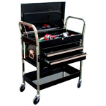2-Shelf Service Cart with 2-Drawer Chest