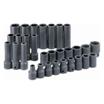 6 Point Standard and Deep Metric Impact Socket Set, 30 Piece