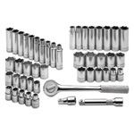 6 Point Fractional/Metric Socket SuperSet, 47 Piece